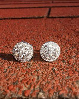 Aros flower diamonds 18k white gold