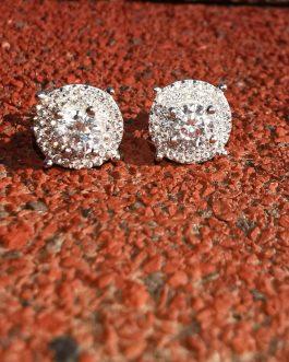 Aros big Diamond sobresalido 18k white gold