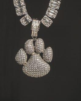Medalla huella perro 3d 18k White gold
