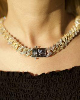 Cubana prong diamond 15mm 18k bicolor