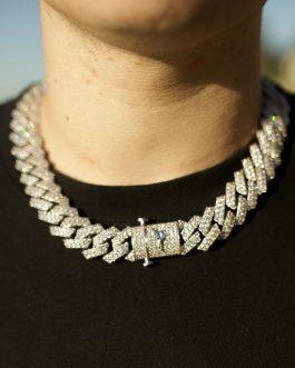 Cubana prong diamond 19mm 18k white gold