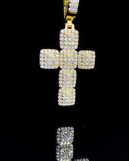 Medalla Cruz Baguette Gold 18k